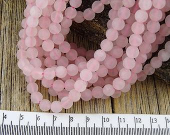 Matte Rose Quartz Beads, 6mm Rose QUARTZ Beads, Frosted Rose Quartz Beads, Pink Beads, Round Beads, 6 mm Pink Beads, Pastel Pink Beads