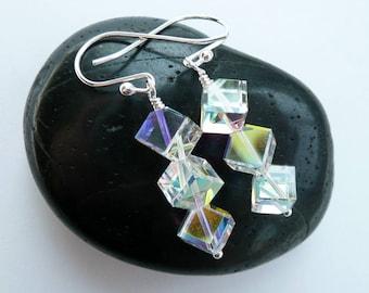 Artisan Swarovski Rainbow Prism Cube Crystal Sterling Silver OOAK Modern Minimalist Boho Hippie Rocker Chic Festival Earrings