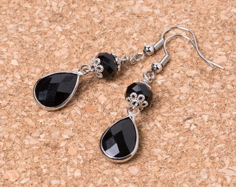 Gothic Black Crystal Drop/Dangle Earrings