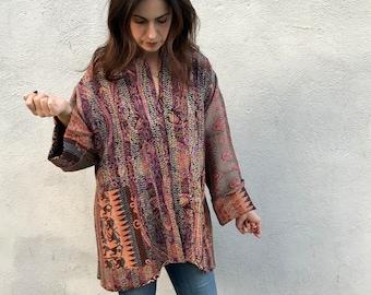 Ultra sophisticated color combination reversible silk kantha kimono
