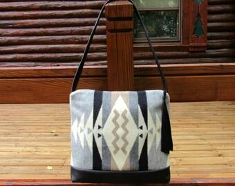 Shoulder Bag Purse Black Leather Native American Blanket Wool from Pendleton Oregon Southwest Style