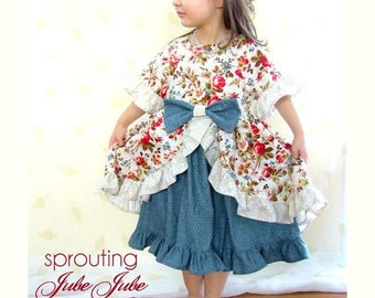 SALE Sewing Pattern with Tutorial for the Enchanted Dress w. half and 7/8 sleeves 9m-12 girls Instant