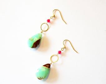 Gold Green Gemstone Hoop Earrings / Gold Hoop Earrings / 14k Gold Vermeil Earrings Mint Green and Brown Chrysophase and Chalcedony Gemstones