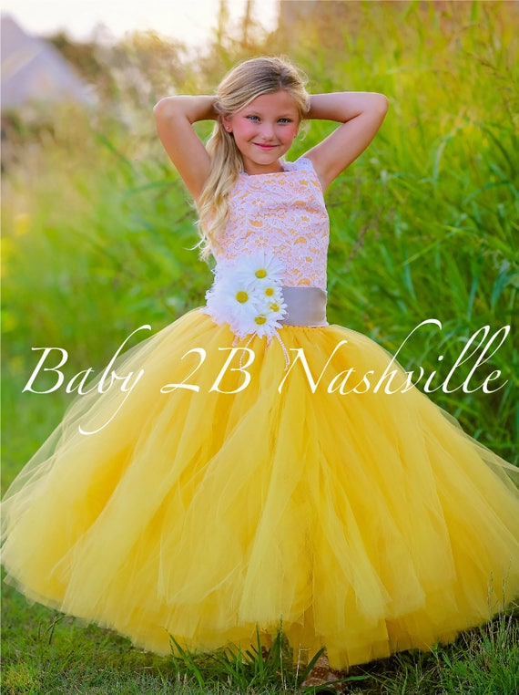 Daisy Dress Yellow Dress Flower Girl Dress Lace Dress Tulle dress Wedding Dress Birthday Dress Toddler Dress  Daisy Girls Dress