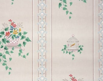 1930s Vintage Wallpaper by the Yard - Kitchen Wallpaper Bird Cage and Flowers