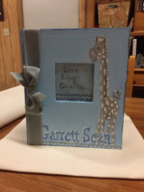 Live, Laugh...Giraffe Baby Memory Book | Light Blue and Gray Baby Keepsake Book