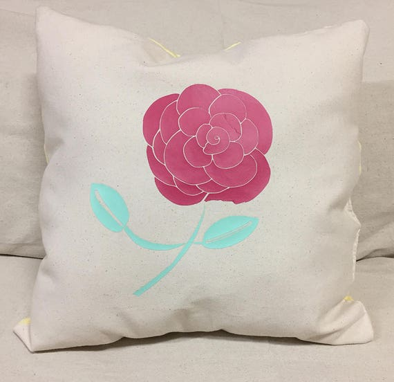 A Simple Rose Design Decorative Pillow | Hot Pink Rose Pillow Design | Canvas Front Pillow | Soft Yellow Pillow Back