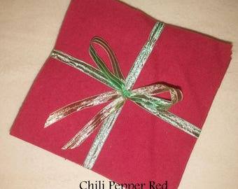 Solid CHILI PEPPER red, FLANNEL Fabric Squares,  Rag Quilt, Traditional Quilting, pick size & quantity, We Cut You Sew