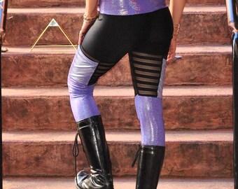 Qadesh Festival Pants - womens leggings - lace leggings - purple pocket leggings - Hippie Pants - Spandex Pants - Festival clothing