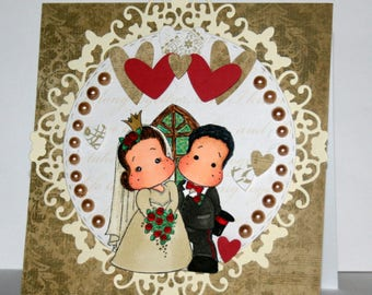 Beautiful handmade wedding card featuring Mr. and Mrs. Edwin