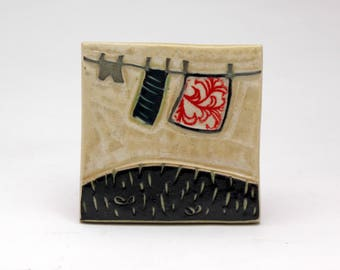 Clothesline- 3x3 ceramic tile- Ruchika Madan