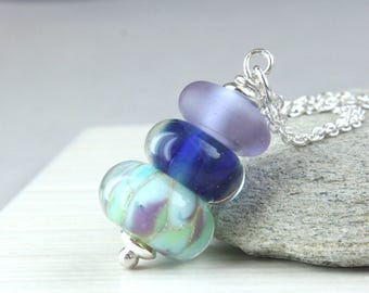 Colorful Lampwork  Necklace Sterling  Silver Glass Jewelry  Handmade Jewellery  Gift For Woman Multi Colored Necklace  Column Pendant