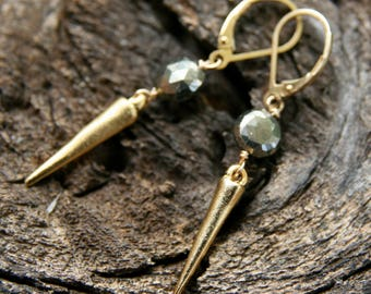 gold pyrite earrings, gold dagger earrings, ckb creations, pyrite earrings, gold charm earrings, simple gold earrings, gold dangle earrings