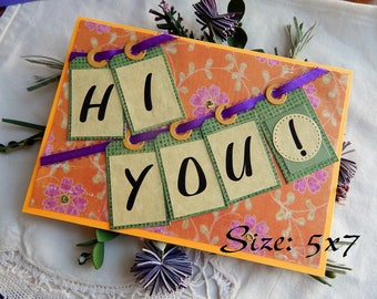 Handmade Thinking of You Card: tags, 5x7, orange, purple, ooak, friend, family, greeting card, complete card, handmade, balsampondsdesign