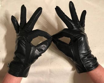 Vintage Black Leather Gloves Ladies fashion driving Gloves Made in Japan size B