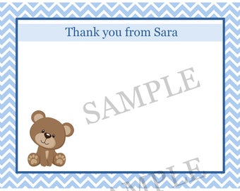 20 Personalized Baby Shower Thank You Cards - BLUE Teddy Bear Baby Shower - Bear Party Thank You Cards