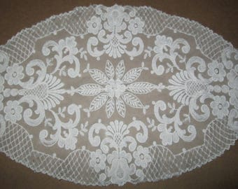 Beautiful Antique French Point de Venise Lace Hand Made Very Detailed Floral Table Topper circa: 19th c