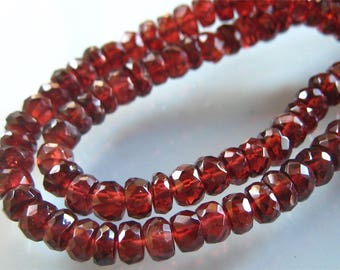 9 Inches of Sparkling Mozambique Garnet Larger Size Faceted Rondelles 6mm-7mm