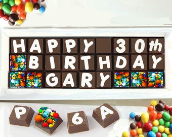 """30th Birthday Gift, 30th Birthday for her, Personalized Chocolate Message, Personalized Edible """"Eat Your Words"""" Happy Birthday"""