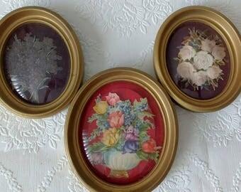 Antique Primitive Die Cut Floral Oval Convex Glass Framed Pictures Group
