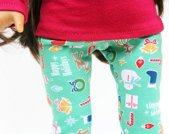 Fits like American Girl Doll Clothes - Merry and Bright Christmas Leggings
