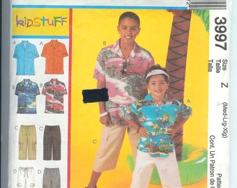 McCalls Childrens  Boys SHIRTS  PANTS  in Two Lengths  VISOR Sewing  Pattern 3997  Z  Med-Lrg-Xlg  Uncut