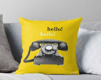 Decorative pillow cover - Retro Telephone Pillow Cover - Vintage Inspired Yellow Pillow Case - Throw Pillows Covers - trendy pillow