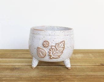 Stoneware Planter Pot with Leaf Stamps in Glossy White Glaze