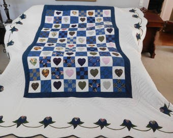 King Size, Amish Made, Hand Stitched Quiting - Nine Patch Hearts with Applique Quilt