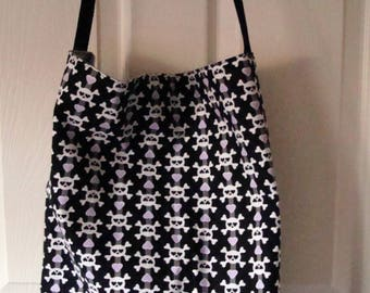 """Check out this great Black White and Gray Cross Bone Skull Heart Tote Bag,   Go to the Beach or Flea Market   18x15x4 Strap 20""""  USA MADE"""