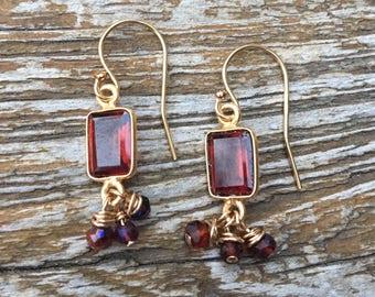 Gold Filled Garnet Drop Earrings