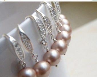 Summer Sale Earrings Swarovski Champagne Pearl Sterling Silver CZ  Bella E14
