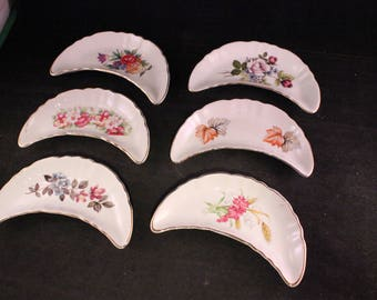 Set of 6 Antique Chadwick's Semi Porcelain Bone Dishes with Colorful Flowers