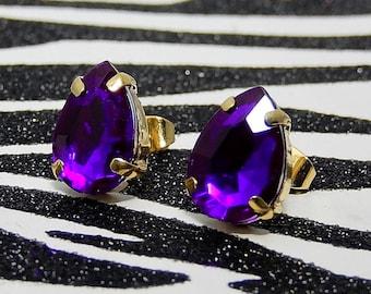 Purple Teardrop Earrings, Jewel Stud Earrings, Rhinestone Gem Posts