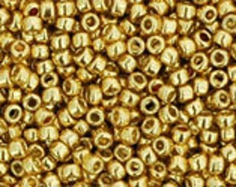 TOHO Japanese Seed Beads - Round 15/0 : PF557  PermaFinish - Galvanized Starlight Gold - choose your gram weight