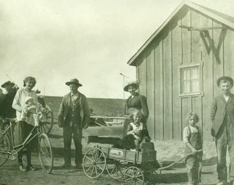 RPPC Real Photo Glossy POSTCARD Early 1900s on the Homestead CKYO Stamp Box - Family, Horse, Dog, Bicycle, Wooden Wagon