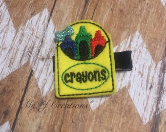 Box Of Crayons Hair Clippie - Back To School Girls Photo Prop Preschooler - READY TO SHIP