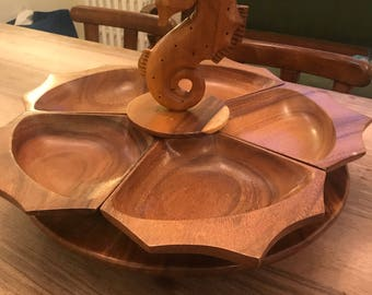Mid Century Modern wooden Seahorse appetizer lazy Susan tray toothpick holder