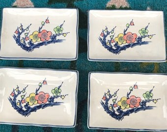 Set of 4 Vintage Japanese rectangle sushi appetizer plates flowers floral blossoms