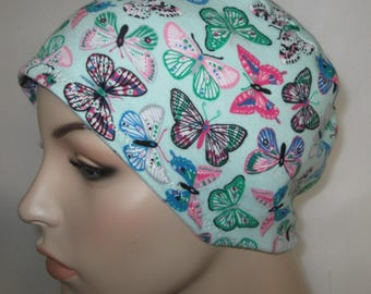 Women's Butterfly  Cotton Stretch Knit Chemo Cap, Cancer Hat, Alopecia Beanie