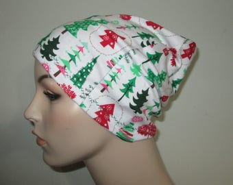 Slouch Chemo  Beanie  Hat Christmas Trees  Hat Play Sleep Cap, Cancer Hat, Alopecia Jogging