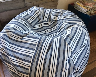 Striped Denim Fabric Bean Bag Pillow Chair For Retro Cabin Decor With Cover And Liner You