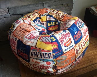 Vintage Beach Signs  Bean Bag pillow chair for retro cabin decor with Cover and Liner you fill