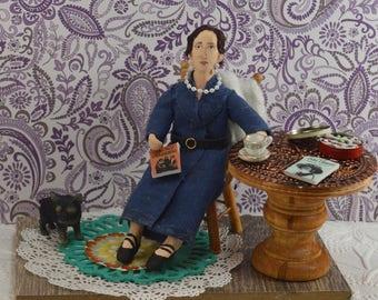 Virginia Woolf, Doll Miniature, Writer and Author, Diorama Scene