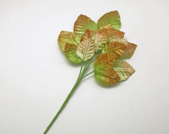 Vintage Amber Green Velvet Leaves