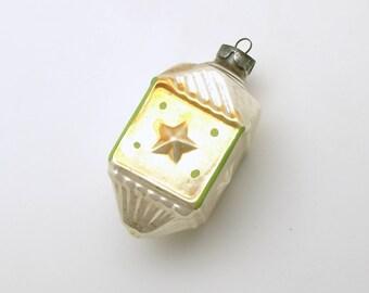 Vintage Christmas Ornament Silver Glass Ornament Fancy Stars Christmas Decoration