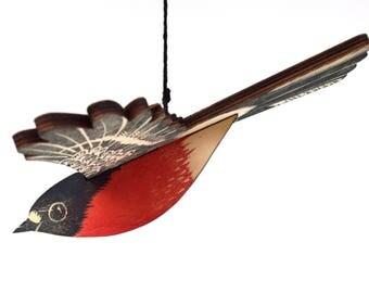 Flame Robin Mobile, Hand Printed Wooden Lino Printed Hanging Bird, Australian Native Bird,