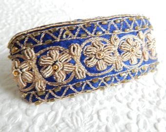 Blue  rectangle embroidered beaded hair barrette, thick hair clip, ponytail holder, BACK IN STOCK, last one
