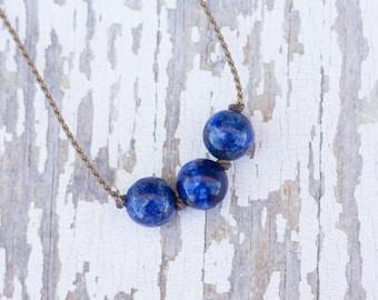 lapis lazuli / big triple knotted / handspun ROPE necklace / waterproof / kid-proof / life-proof / bohemian / minimalist beauty / tula blue