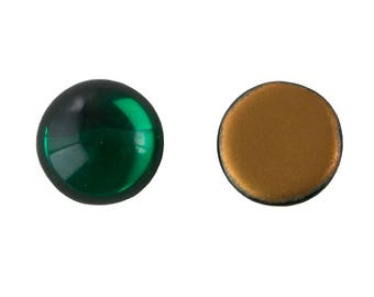 Vintage West German Emerald Green Glass Cabochons 15mm (4) cab2007B
